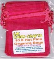 10 x Hot Pink Organza Bags - 10cm x 8cm - Weddings, Parties